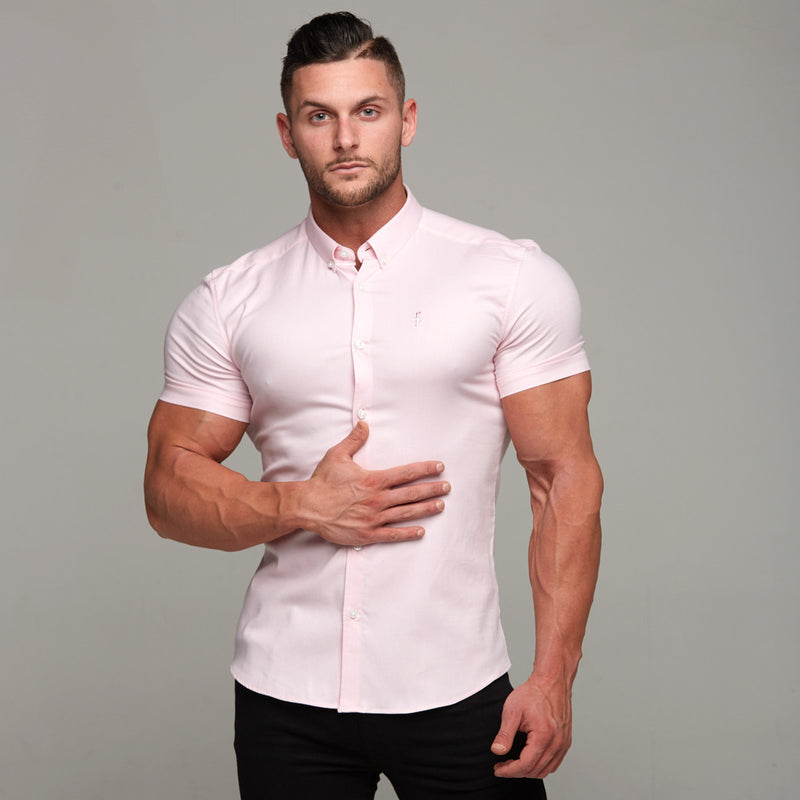 Father Sons Super Slim Stretch Classic Oxford Pink Short Sleeve - FS305