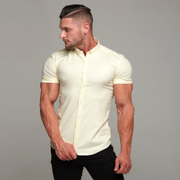 Father Sons Super Slim Stretch Classic Oxford Lemon Short Sleeve - FS315