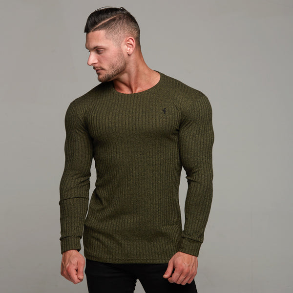 Father Sons Classic Khaki Ribbed Knit Super Slim Crew - FSH115