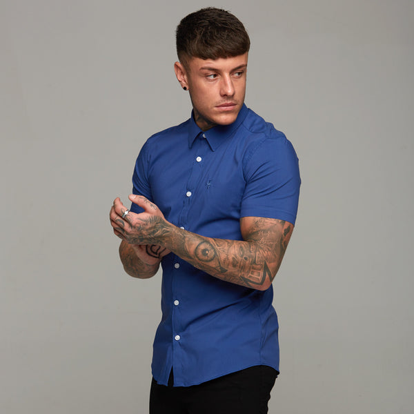 Father Sons Super Slim Stretch Classic Blue Short Sleeve (White Buttons) - FS297