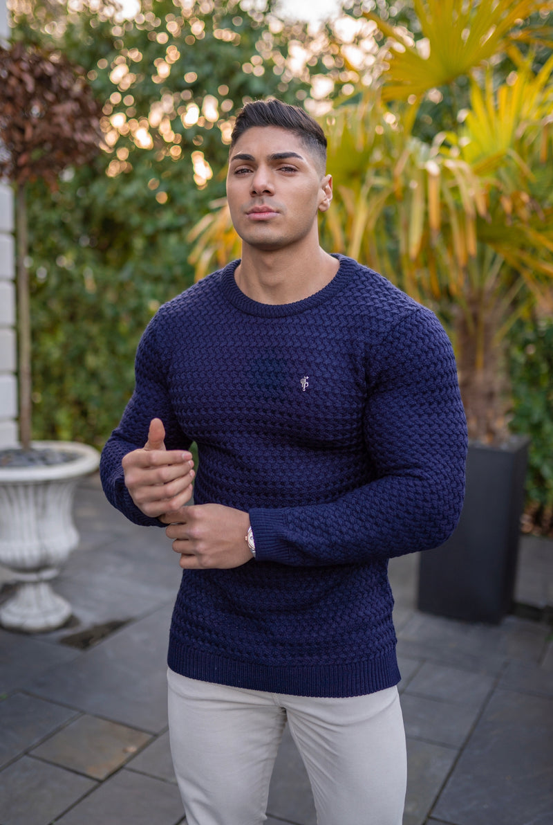 Father Sons Navy Knitted Weave Super Slim Jumper With Metal Decal - FSJ013
