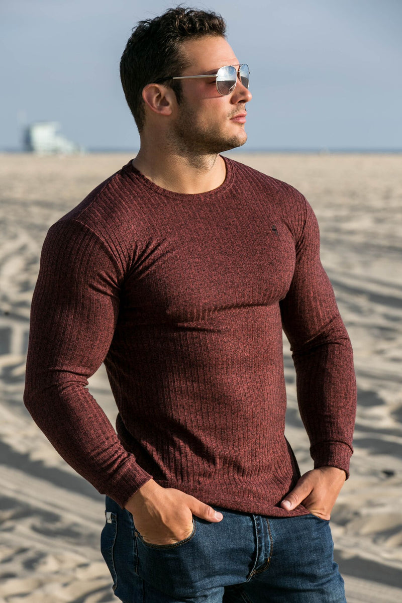 Father Sons Classic Burgundy Ribbed Knit Super Slim Crew - FSH113