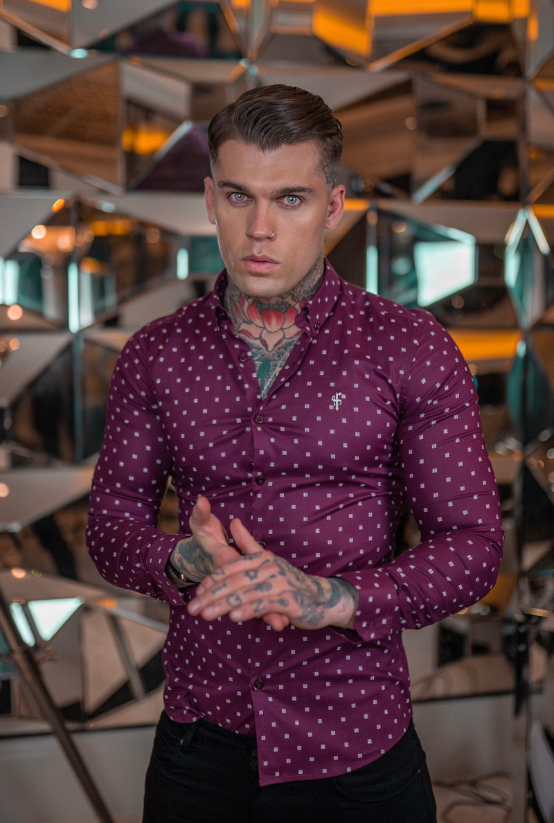 Father Sons Super Slim Stretch Burgundy & White Broken Square Print Long Sleeve - FS660