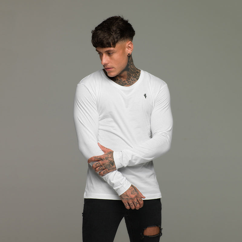Father Sons Classic White Long Sleeve Crew  FSH068