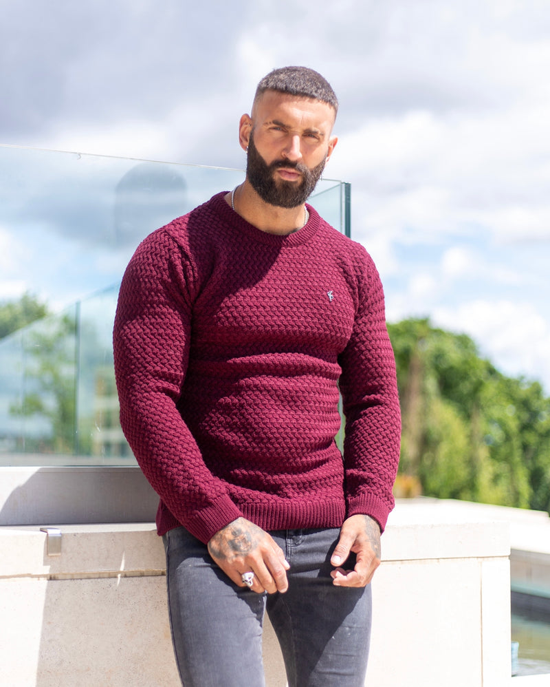 Father Sons Burgundy Knitted Weave Super Slim Jumper With Metal Decal - FSJ017