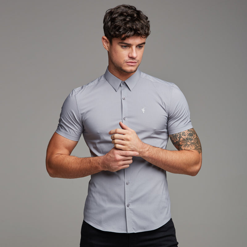 Father Sons Super Slim Stretch Classic Light Grey Short Sleeve - FS235