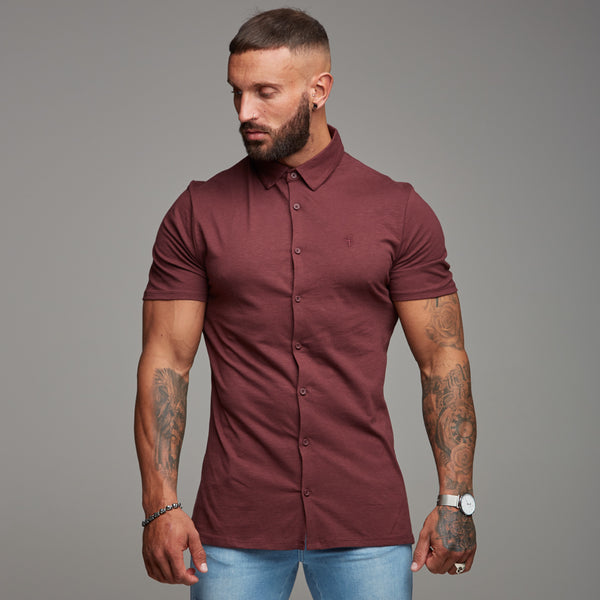 Father Sons Super Slim Burgundy Jersey Short Sleeve - FSH016