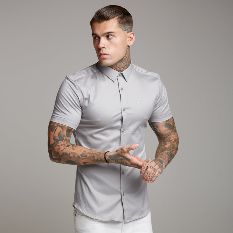 Father Sons Super Slim Luxe Ultra Stretch Light Grey Short Sleeve -  FS334