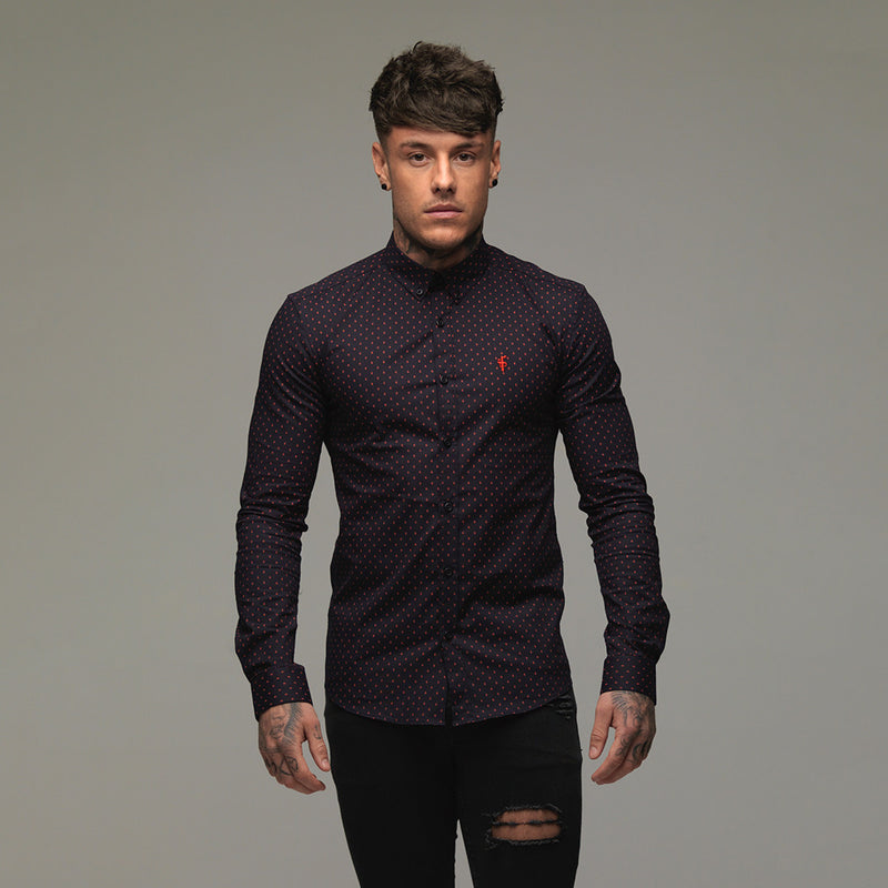 Father Sons Super Slim Stretch Navy & Red Ditsy Print Long Sleeve (Red Embroidery) - FS092R