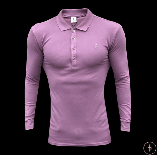 Father Sons Classic Lavender Long Sleeve Polo Shirt - FSH307