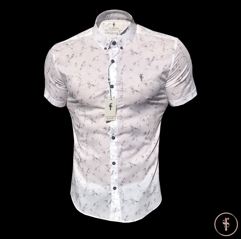 Father Sons Super Slim Stretch Marble Print Short Sleeve - FS433