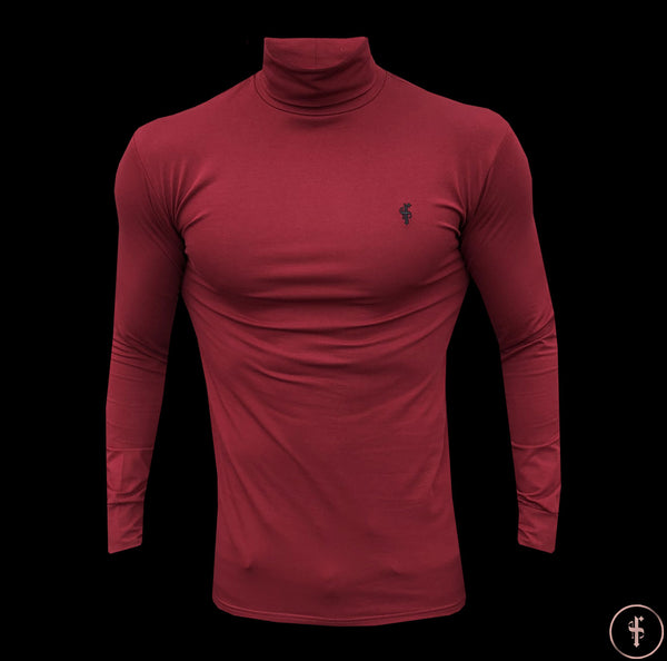 Father Sons Classic Oxblood Stretch Roll Neck  - FSH304