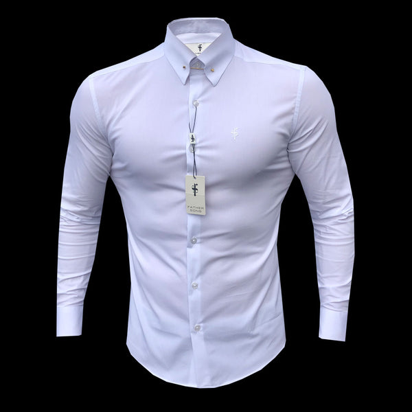 Father Sons Classic White Stretch Shirt with Gold Pin Collar - FS568