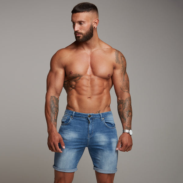 Father Sons Slim Stretch Washed Blue Denim Jean Shorts - FSH140