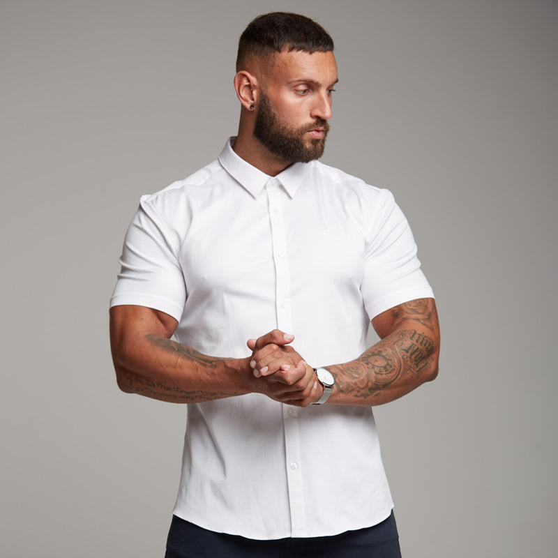Father Sons Super Slim Luxe Ultra Stretch Classic White Short Sleeve -  FS332