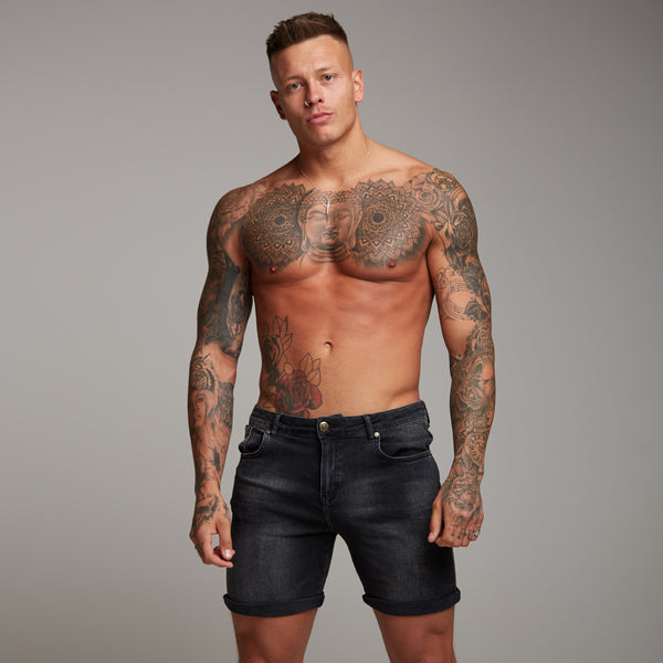 Father Sons Slim Stretch Washed Black Denim Jean Shorts - FSH139