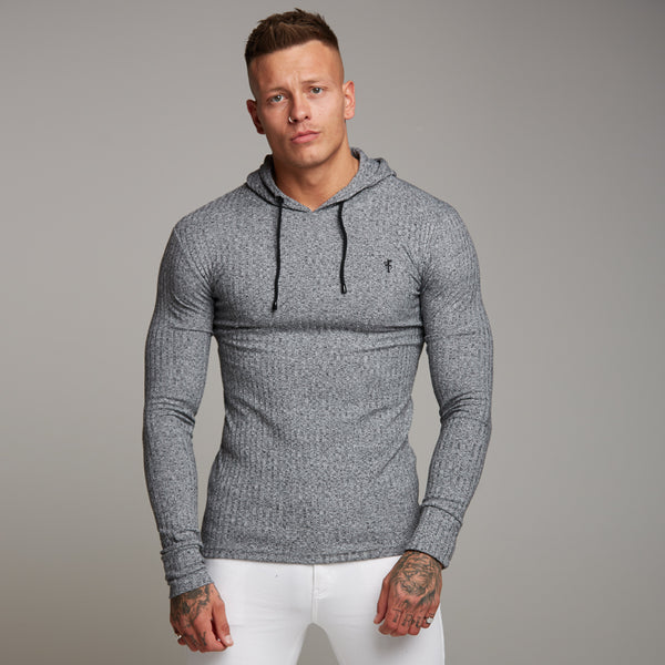 Father Sons Classic Grey & Black Ribbed Knit Hoodie Jumper - FSH174