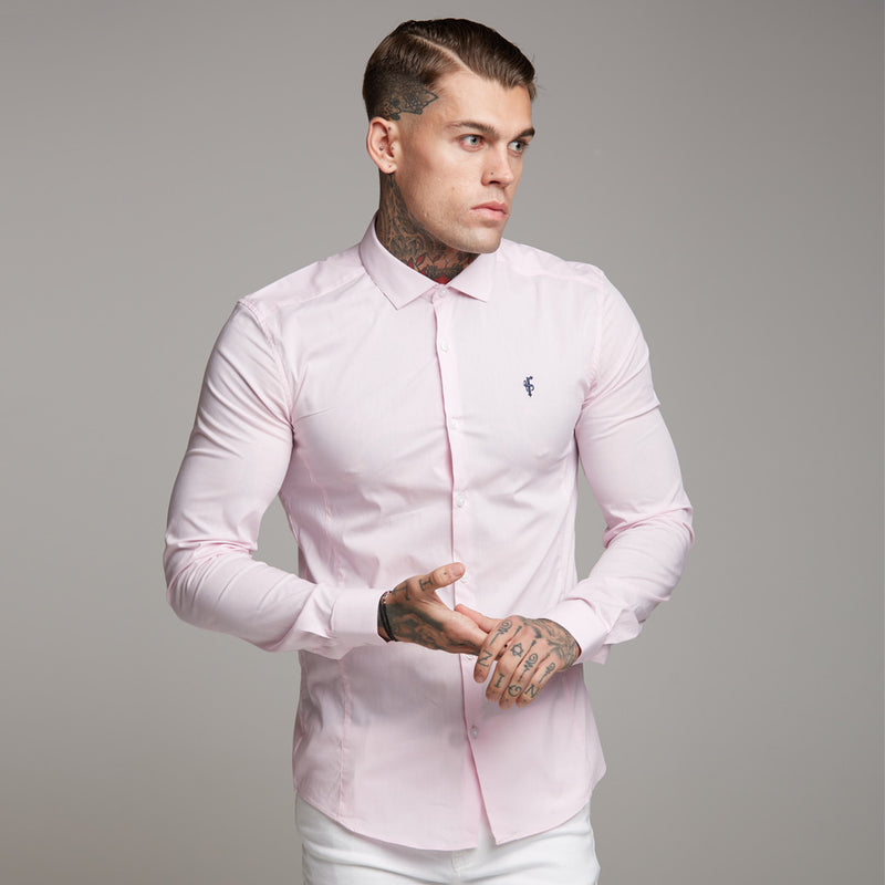 Father Sons Super Slim Stretch Classic Pink Panel Shirt (Navy embroidery) - FS317