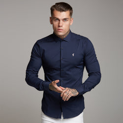 Father Sons Super Slim Stretch Classic Navy Panel Shirt (Pink embroidery) - FS321