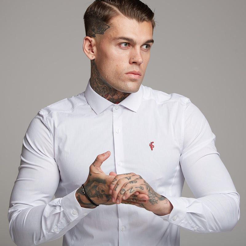 Father Sons Super Slim Stretch Classic White Panel Shirt (Burgundy embroidery) - FS316