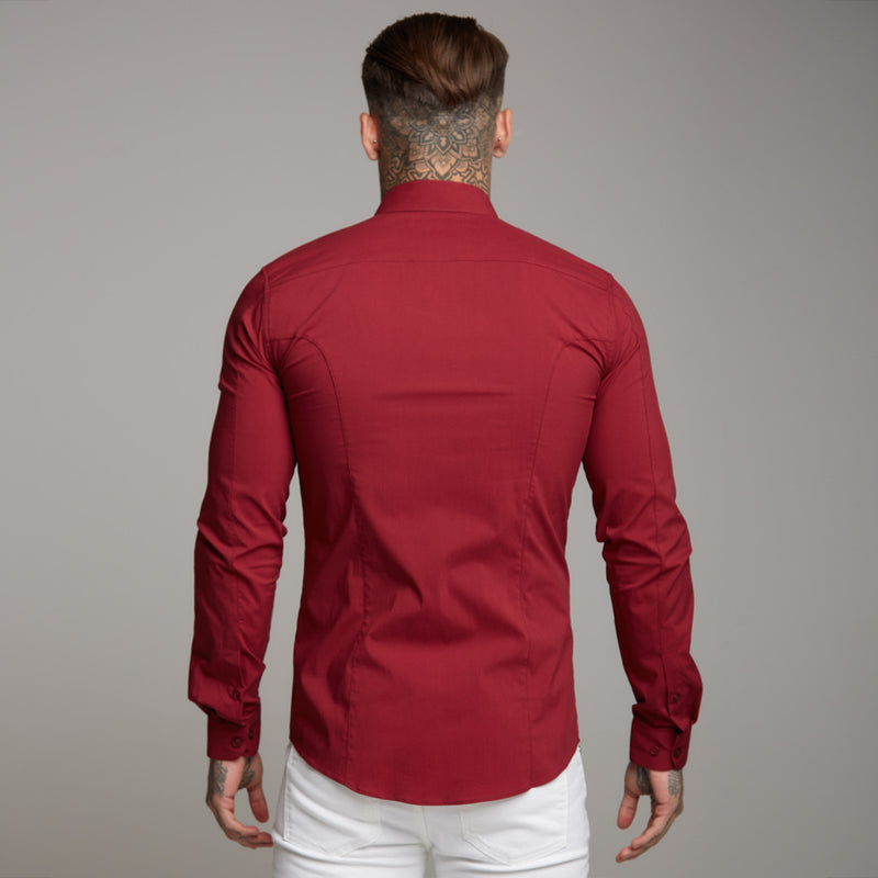 Father Sons Super Slim Stretch Classic Oxblood Panel Shirt (Grey embroidery) - FS318
