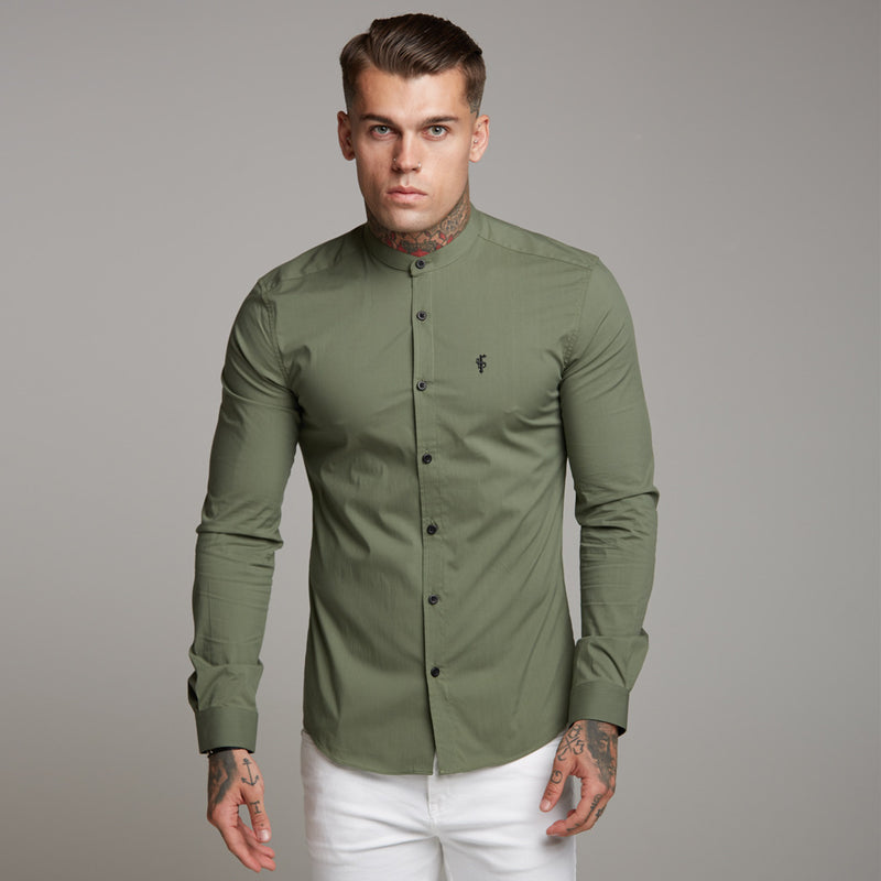 Father Sons Super Slim Stretch Classic Khaki Grandad Collar - FS296
