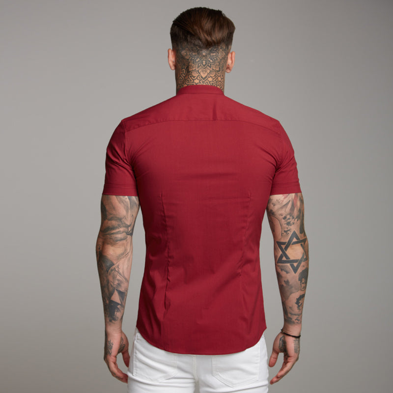 Father Sons Super Slim Stretch Classic Oxblood Grandad Collar Short Sleeve - FS292