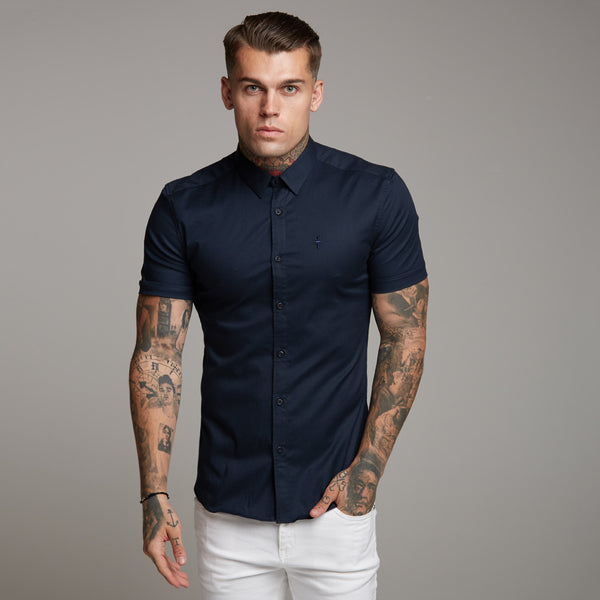 Father Sons Super Slim Luxe Ultra Stretch Classic Navy Short Sleeve -  FS330