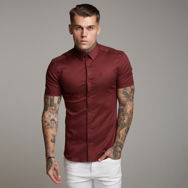 Father Sons Super Slim Luxe Ultra Stretch Classic Burgundy Short Sleeve -  FS336