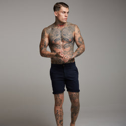 Father Sons Slim Fit Navy Chino Shorts - FSH148