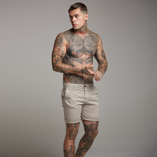 Father Sons Slim Fit Beige Chino Shorts - FSH146