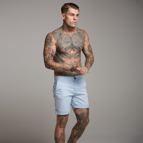 Father Sons Slim Fit Light Blue Chino Shorts - FSH147