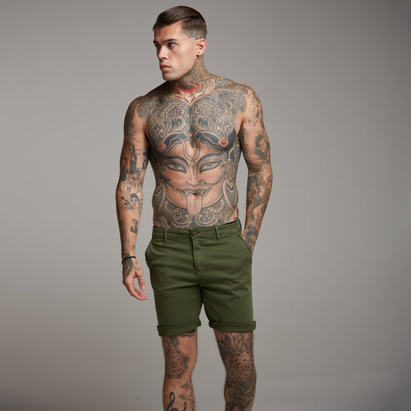 Father Sons Slim Fit Khaki Chino Shorts - FSH145