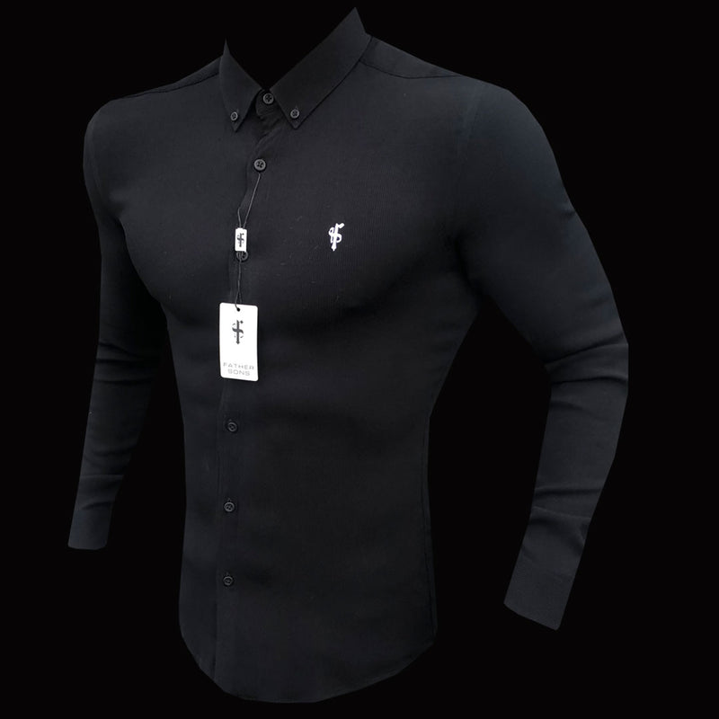 Father Sons Super Slim Stretch Ribbed Black Long Sleeve - FS441