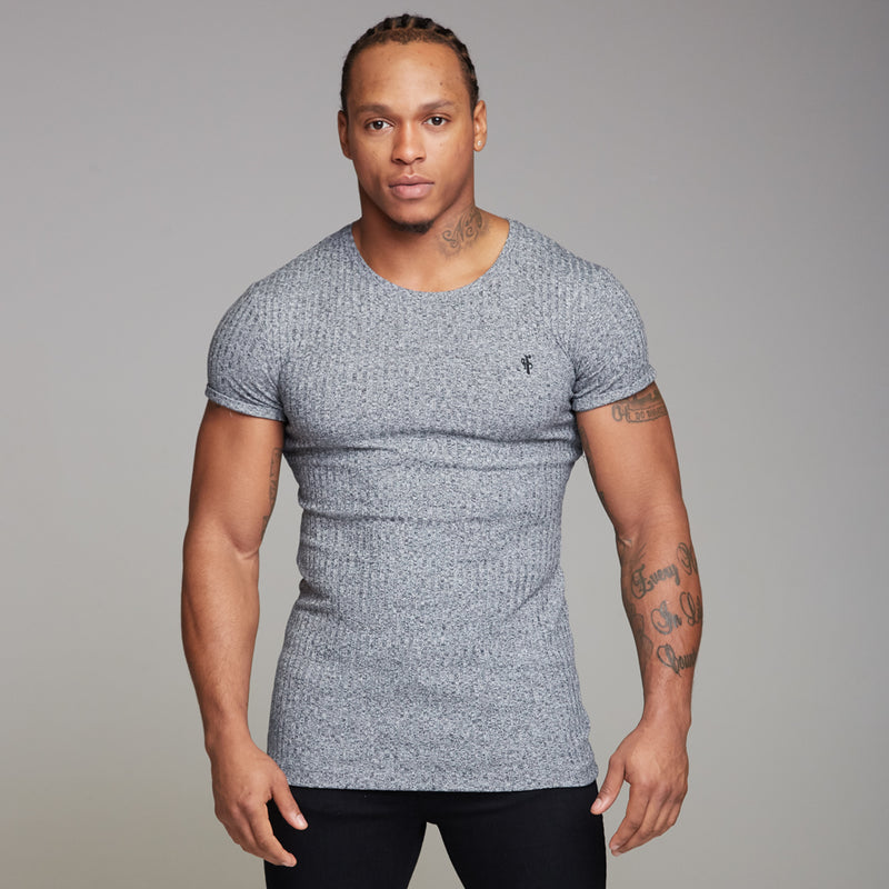 Father Sons Classic Grey Ribbed Knit Super Slim Long Line Crew- FSH173