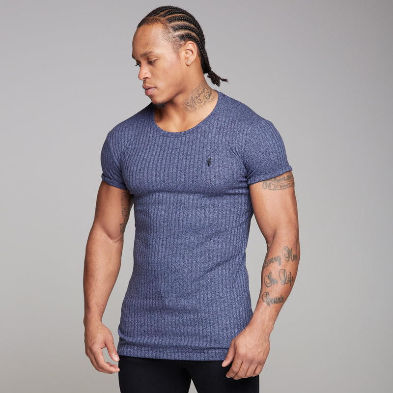 Father Sons Classic Navy Ribbed Knit Super Slim Long Line Crew - FSH171