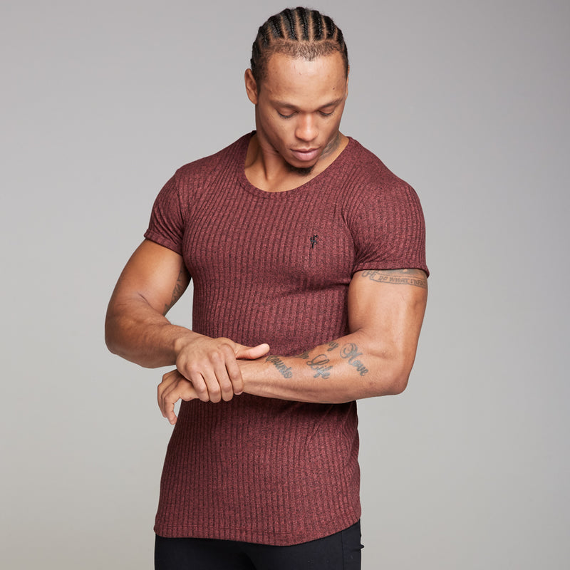 Father Sons Classic Burgundy Ribbed Knit Super Slim Long Line Crew - FSH170