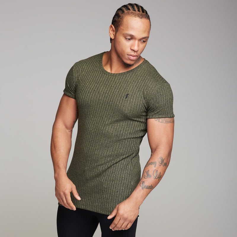 Father Sons Classic Khaki Ribbed Knit Super Slim Long Line Crew - FSH172 (PRE ORDER > 20TH SEPTEMBER)