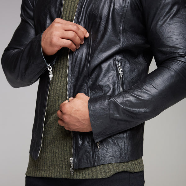 Father Sons Black Lambs Leather Jacket - FSH163