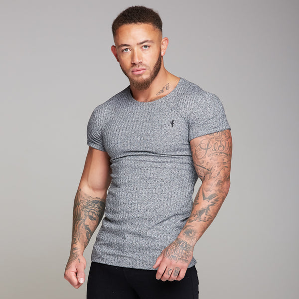 Father Sons Classic Grey Ribbed Knit Super Slim Long Line Crew- FSH173 (PRE ORDER > 23RD SEPTEMBER