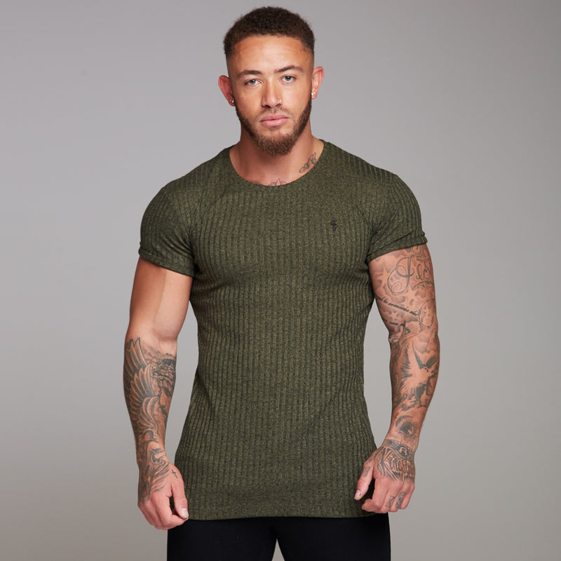 Father Sons Classic Khaki Ribbed Knit Super Slim Long Line Crew - FSH172