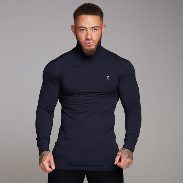 Father Sons Classic Navy Stretch Roll Neck  - FSH164