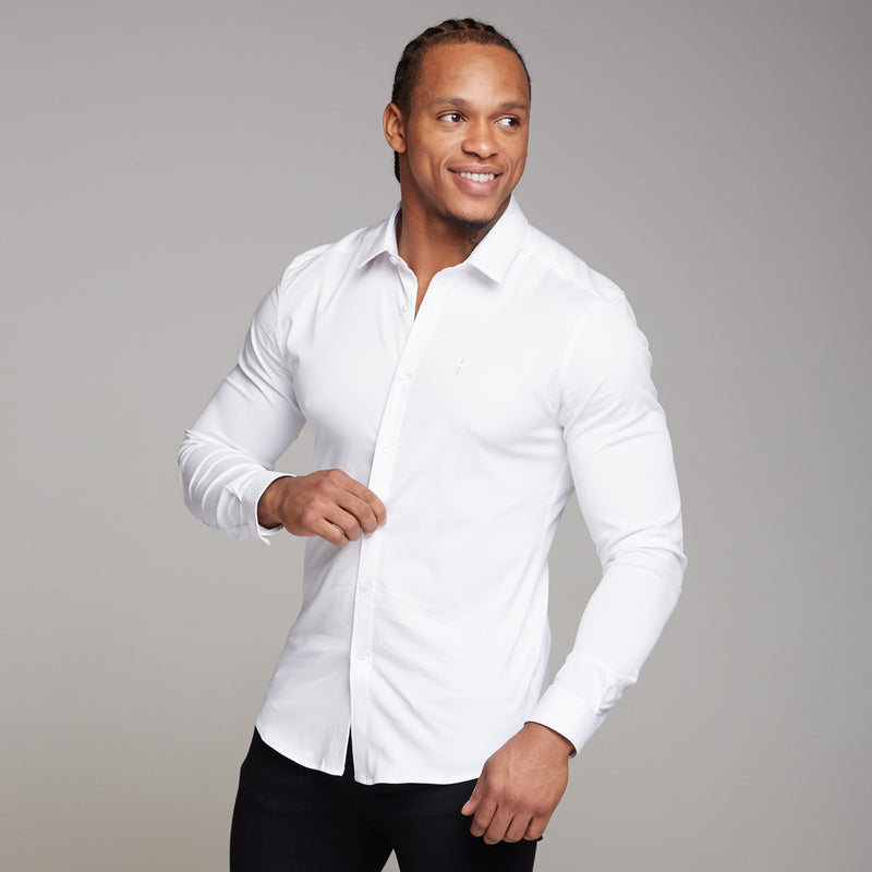 Father Sons Super Slim Luxe Ultra Stretch Classic White Long Sleeve -  FS331