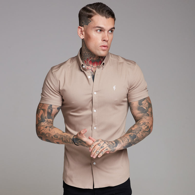 Father Sons Super Slim Stretch Beige Denim Short Sleeve - FS344