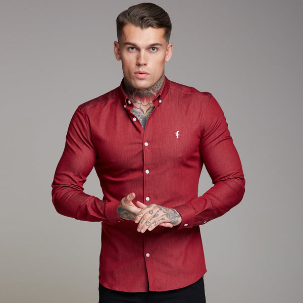 Father Sons Super Slim Stretch Oxblood Denim Long Sleeve - FS339