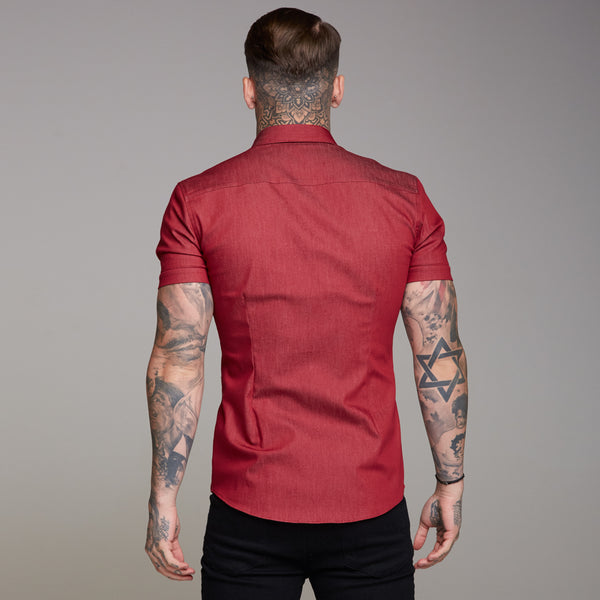Father Sons Super Slim Stretch Oxblood Denim Short Sleeve - FS340