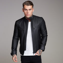 Father Sons Black Bomber Leather Jacket - FSH198