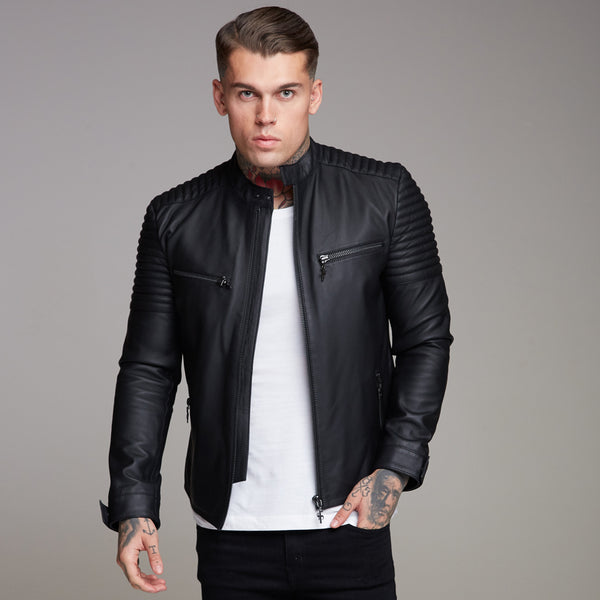 aa8e79f44b Father Sons Black Bomber Leather Jacket - FSH198