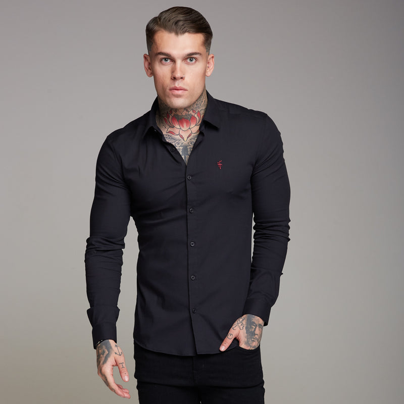 Father Sons Super Slim Ultra Stretch Black Shirt (Red embroidery) - FS354