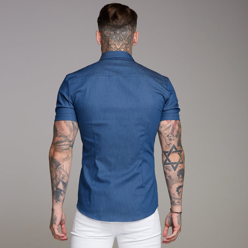 Father Sons Super Slim Stretch Aegean Blue Denim Short Sleeve - FS346